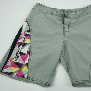 O'Neill Board Shorts Sz 34 Grey Purple Vintage